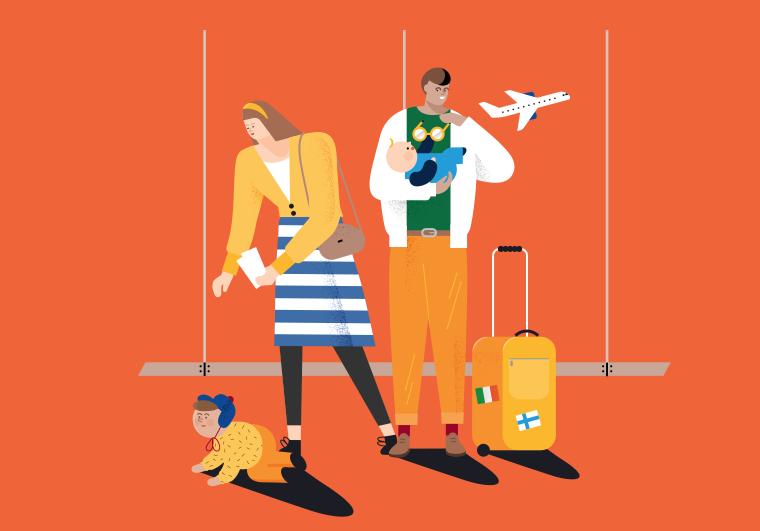 Piirroskuvitus, jossa perhe lentokentällä.
