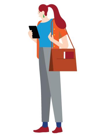 Piirroshahmo, jolla on kädessään tablettitietokone ja olallaan laukku