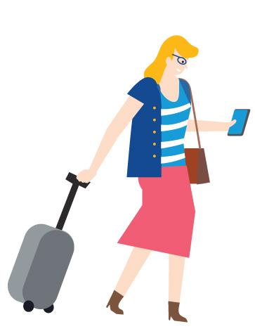 Piirroshahmo joka vetää matkalaukkua perässään