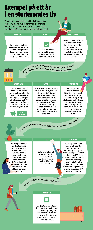Exempel på ett år i en studerandes liv. Du kan förstora infografiken genom att öppna bilden i en ny flik.
