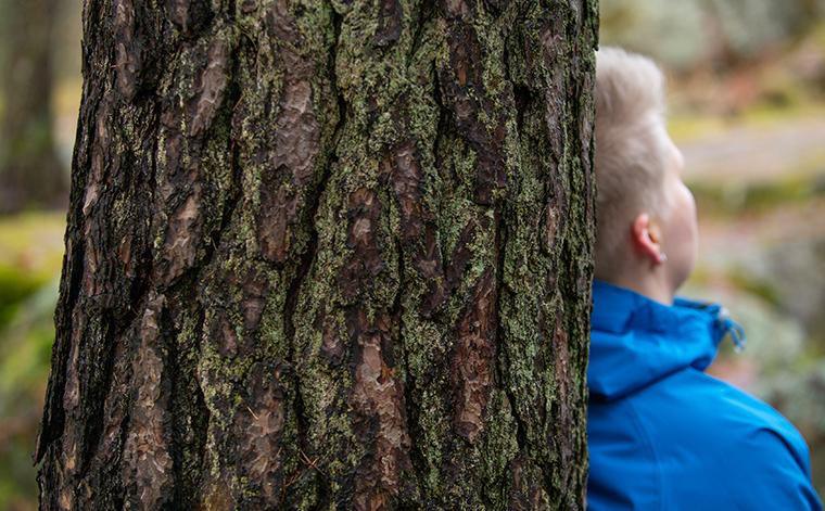 Haastateltava nojaa puunrunkoon, selin kameraan.