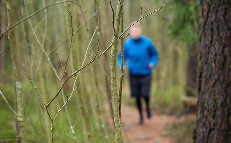 Haastateltava lenkkeilee metsässä.