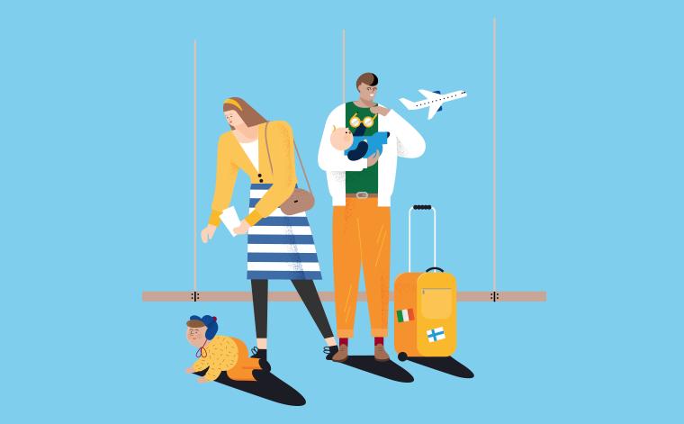 Kuvituskuva. Perhe lentokentällä.