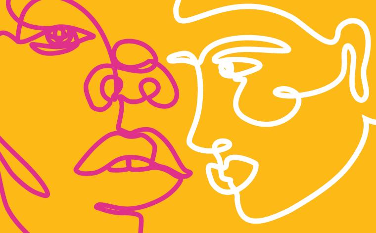 Kuvituskuva jossa kaksien kasvojen ääriviivat.