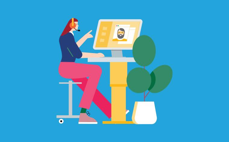 Illustration där en person med ett headset sitter framför en datorskärm.