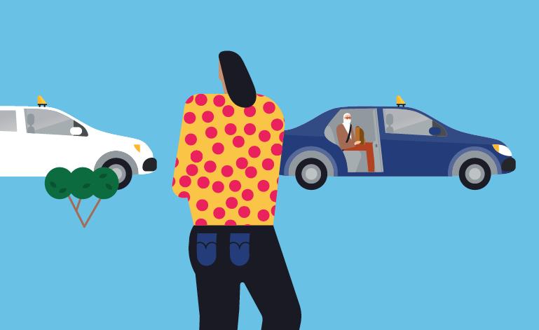 Ihmishahmo ja kaksi taksia piirroskuvassa.